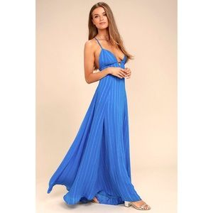 Lulus Elevate Blue Embroidered Maxi Dress